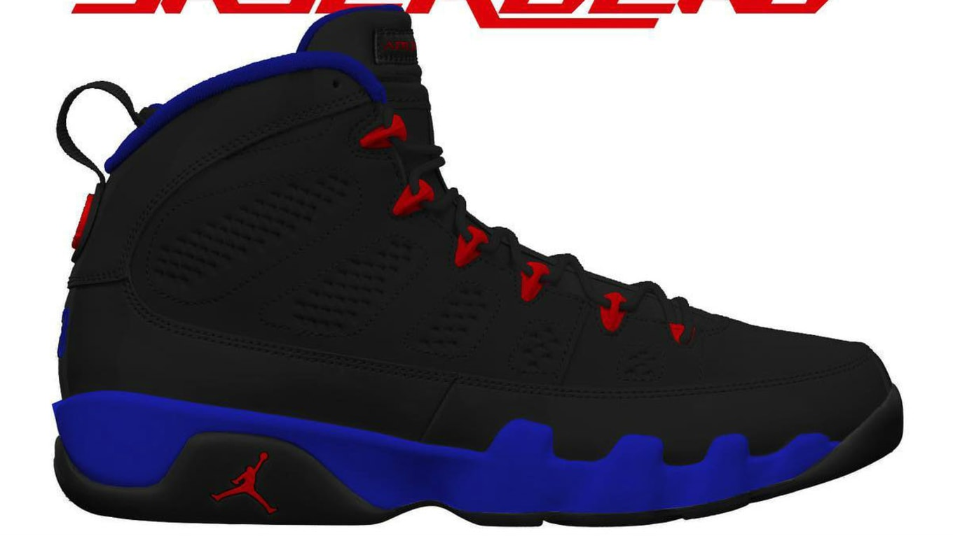 Air Jordan 9 IX Black Dark Concord University Red Release Date ... adeaae080