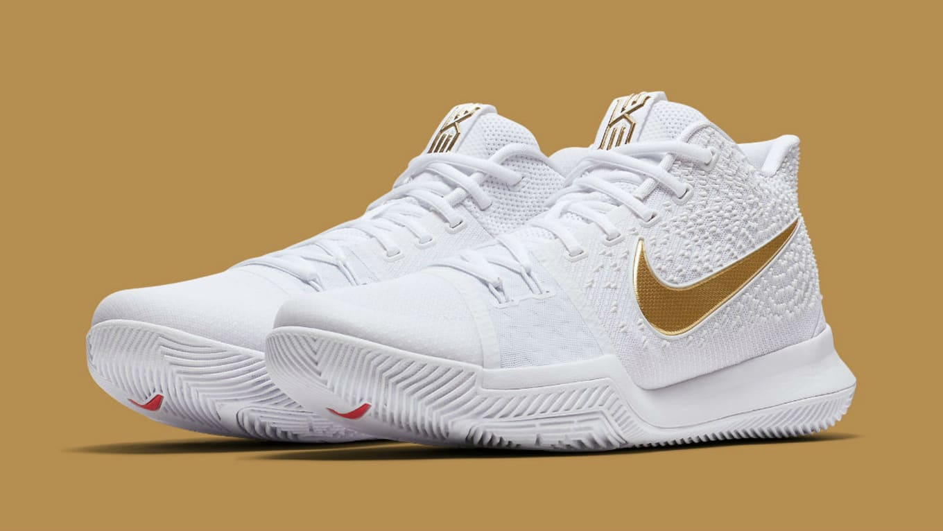 eabae15a5f52 Nike Kyrie 3 White Gold Christmas Release Date 852396-902