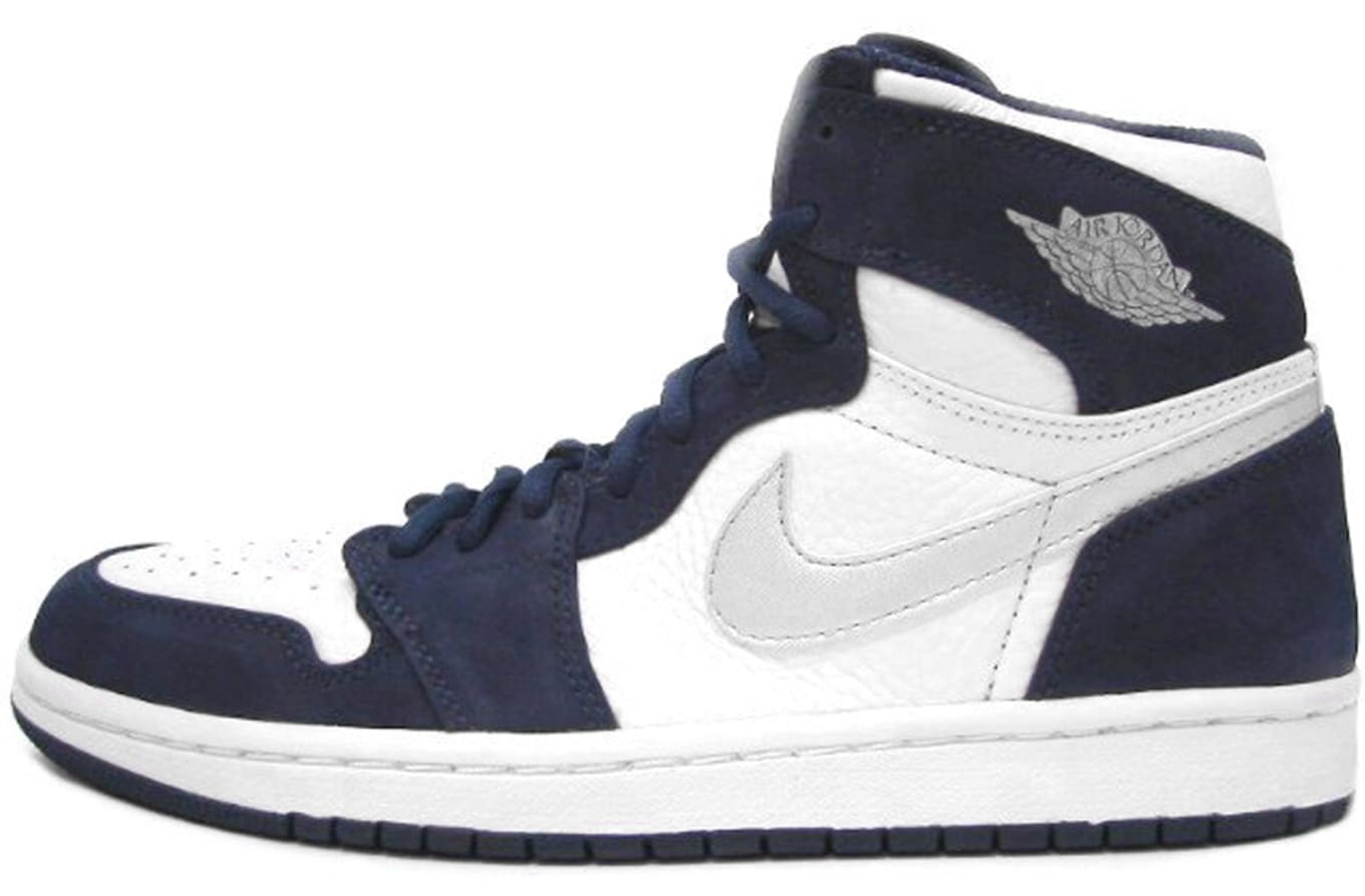 7b1e3e09c959 Air Jordan 1 High Retro White Metallic Silver Midnight Navy