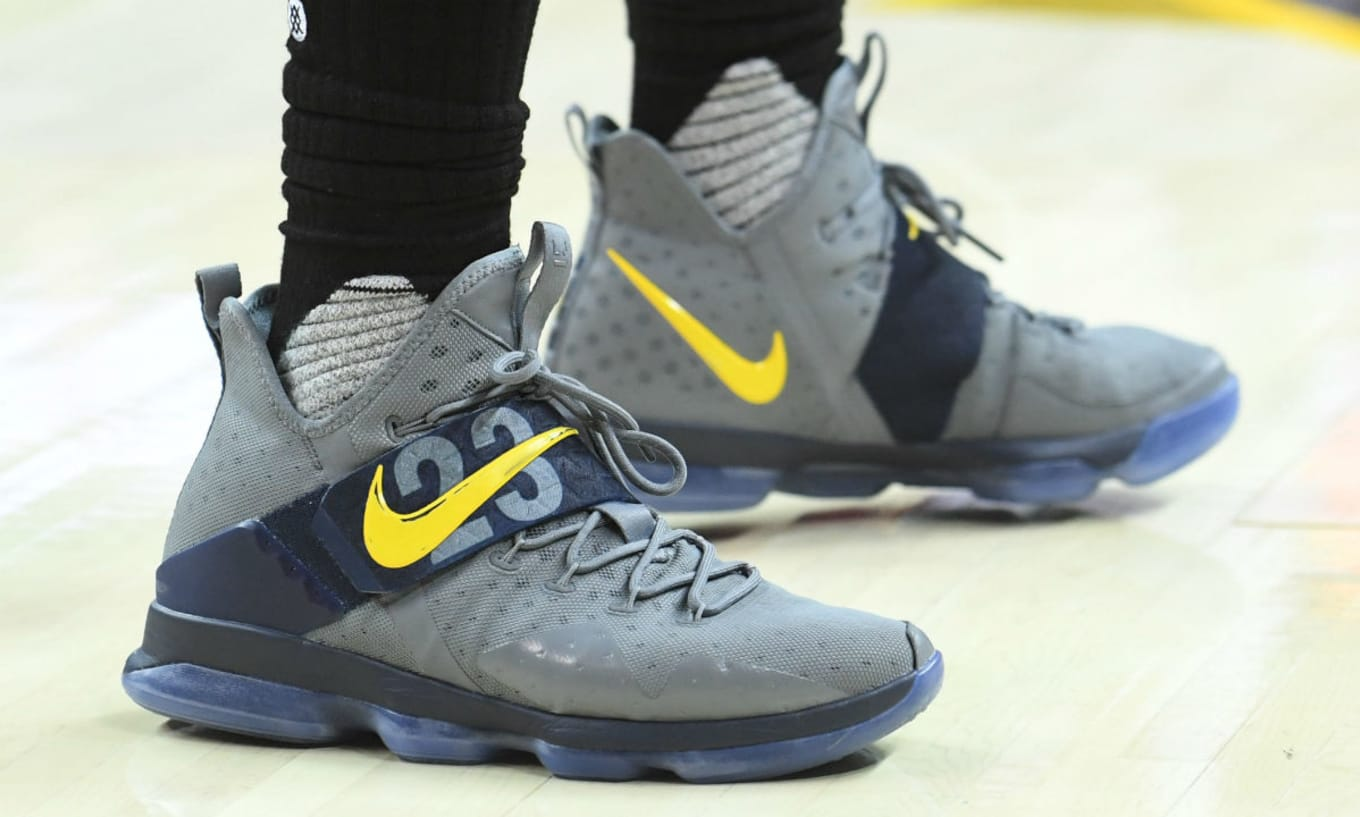online store a1966 a9125 LeBron James Nike LeBron 14 Grey Yellow Batman PE | Sole ...