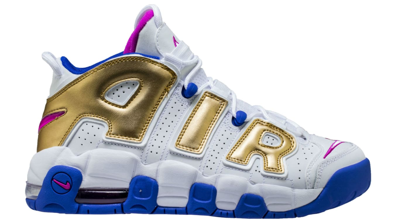 29105178fc341 Nike Air More Uptempo GS White Fuchsia Blast-Metallic Gold-Racer Blue