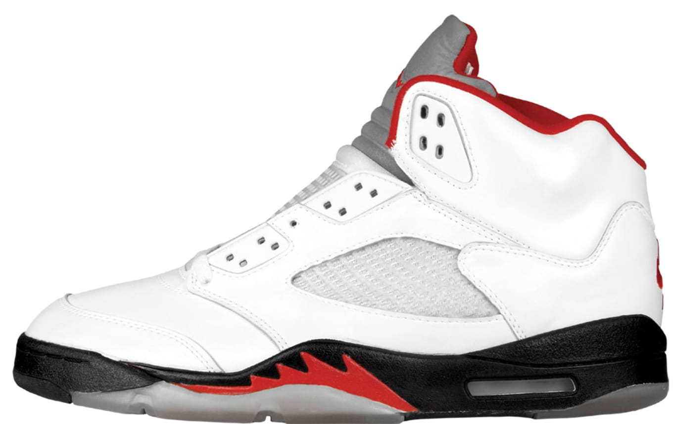 7a24e231e6ccc5 Air Jordan 5 White Black-Fire Red