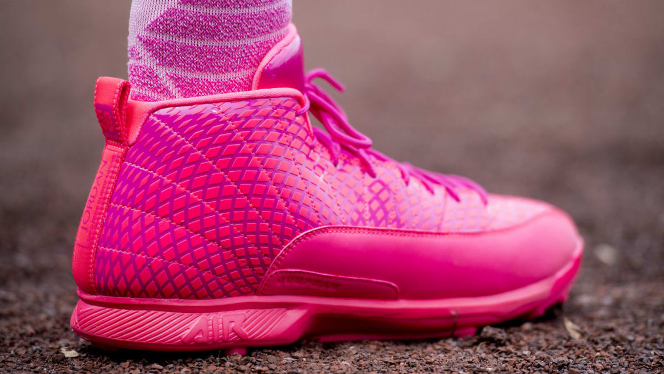0432d1131a27 Air Jordan 12 Pink Mother's Day Baseball Cleats | Sole Collector