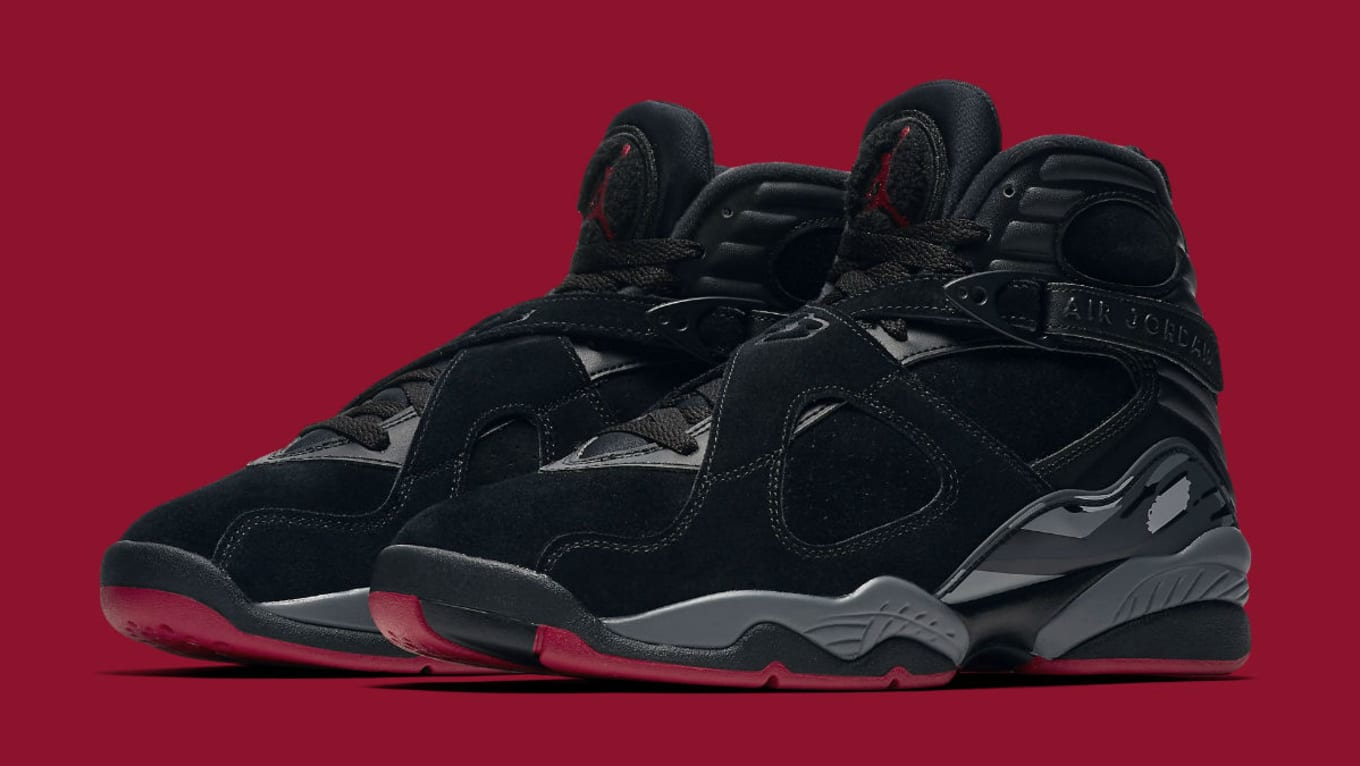 ebd637e9dd1247 Air Jordan 8 Bred Black Gym Red Wolf Grey Release Date 305381-022 ...