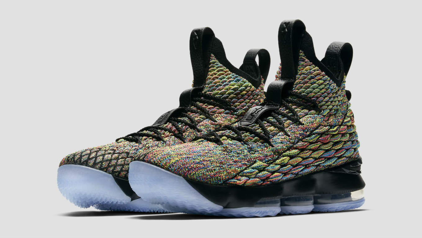 ba4ba883a85a1 This Nike LeBron 15 is a Tribute to His Best Friends. Another multicolor  option.