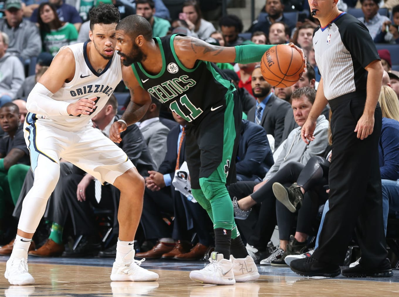 size 40 ee18a d3358  SoleWatch  Kyrie Irving Wears Two New Kyrie 4 Colorways Against Memphis