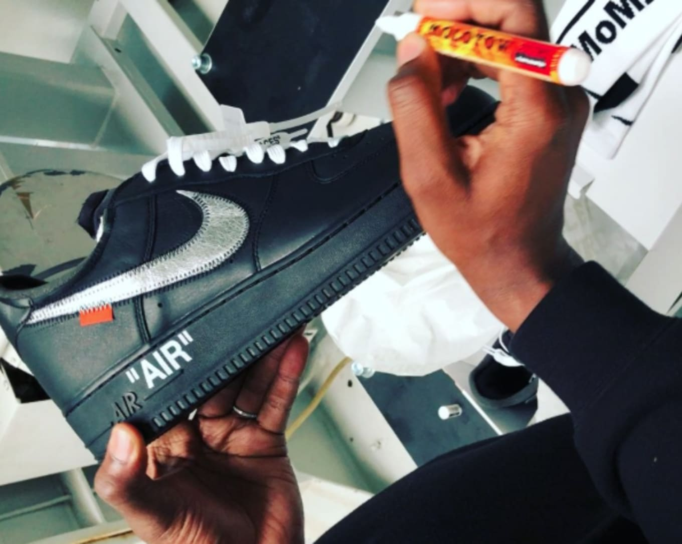 54fe71577c1d Watch Virgil Abloh Customize a Pair of His Air Force 1 Collaboration ...