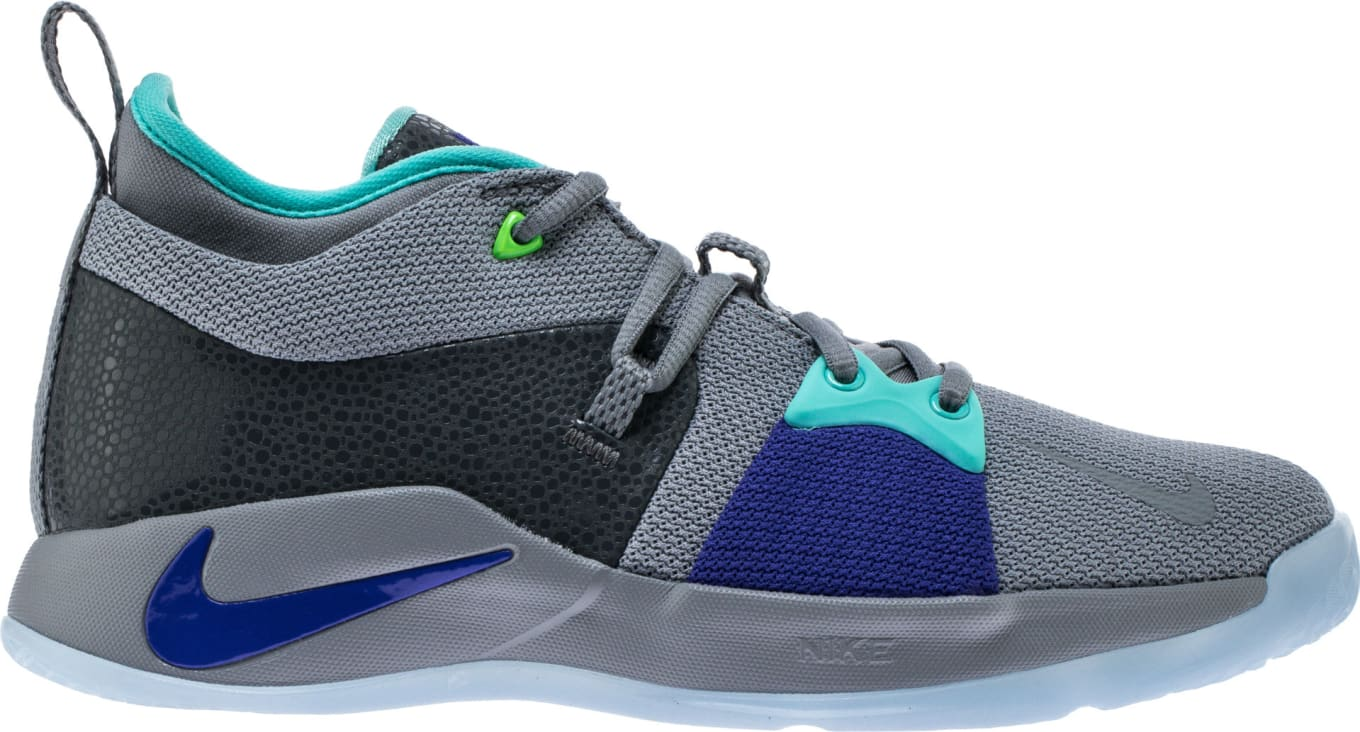 8f5be3a83847 Nike PG 2 Pure Platinum Neo Turquoise-Wolf Grey-Aurora Green. Images via  Shoe Palace