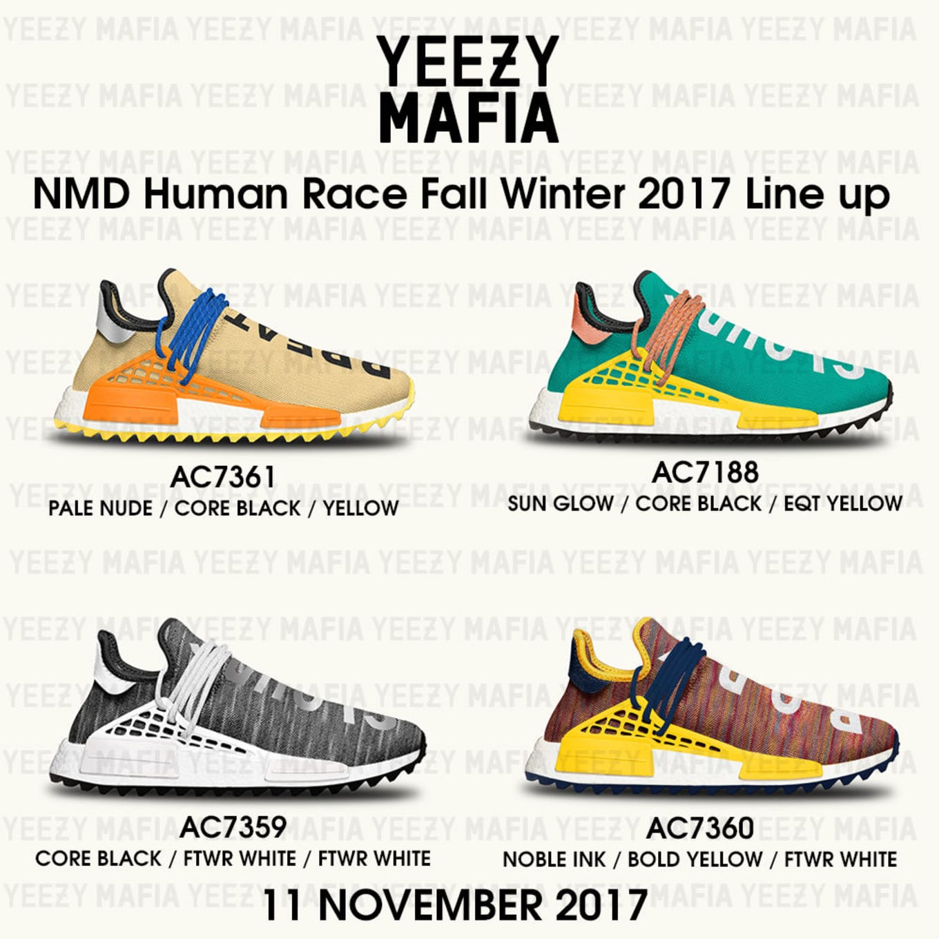 47eb0ce13 Four colorways of the Adidas NMD Hu Trail. By Brandon Richard