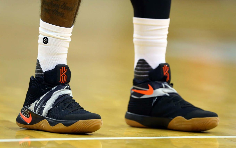43fc07cc2081 Kyrie Irving Wearing a Black White-Orange-Gum Nike Kyrie 2 PE
