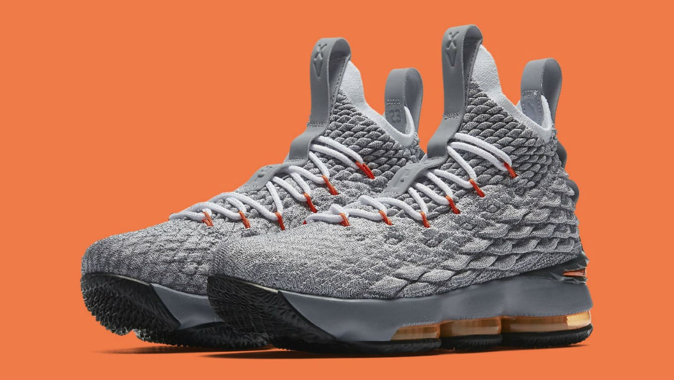 927d7a06ff1c Nike LeBron 15 GS Black Safety Orange Dark Grey Wolf Grey Release ...