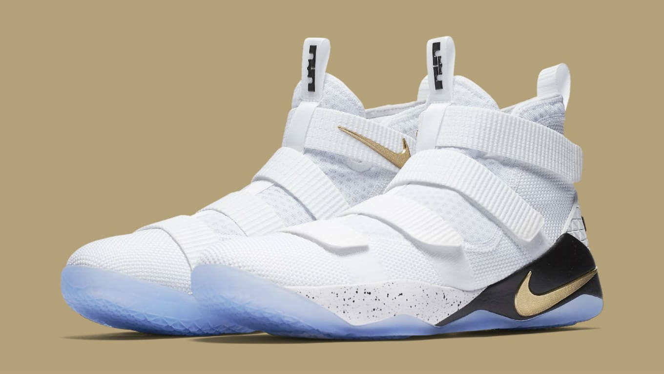 104a6cd39dbd Nike LeBron Soldier 11 White Gold Black Release Date 897644-101 ...