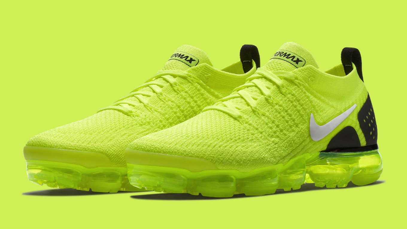 d0735516b140a Nike Readies a Blindingly Bright Air VaporMax Flyknit 2. Volt and black  paired together on upcoming release.