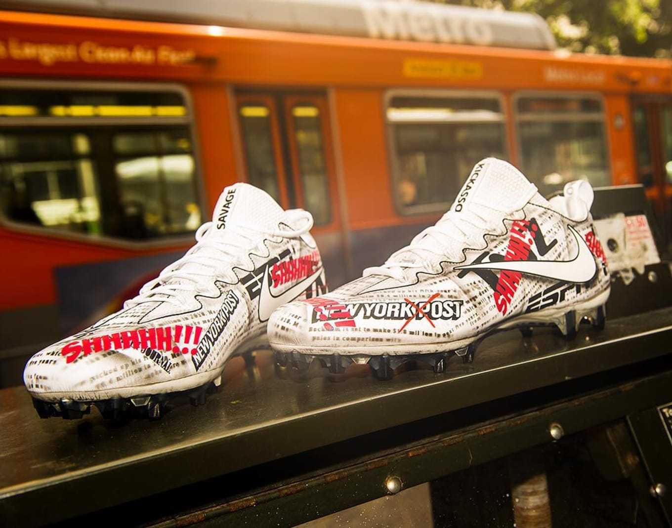 5db778ebe52 Odell Beckham Attempts to Silence the Media with Custom Cleats ...