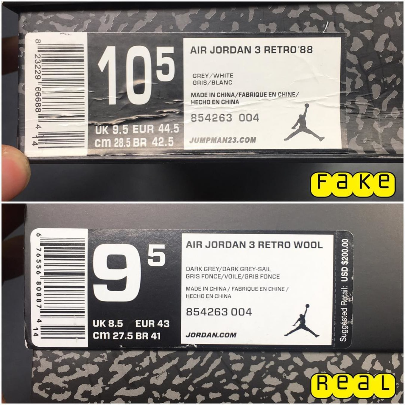 a2775e4400 wholesale air jordan 4 box a677e 7d4c6; switzerland fake education for  whatever reason the box label came stuck to the box and not