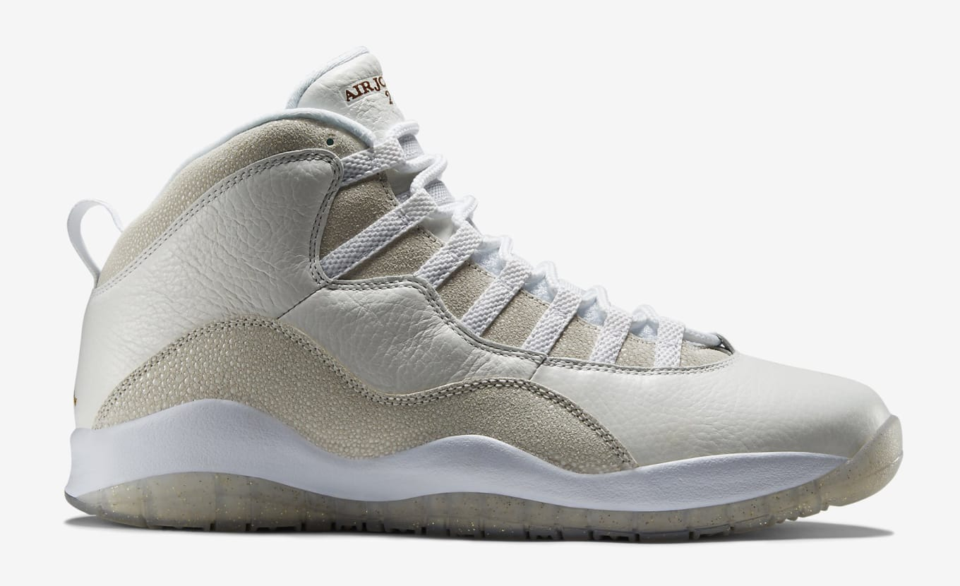 3839cf00f1a0 Air Jordan 10 Retro OVO Summit White Metallic Gold-White. Image via Nike