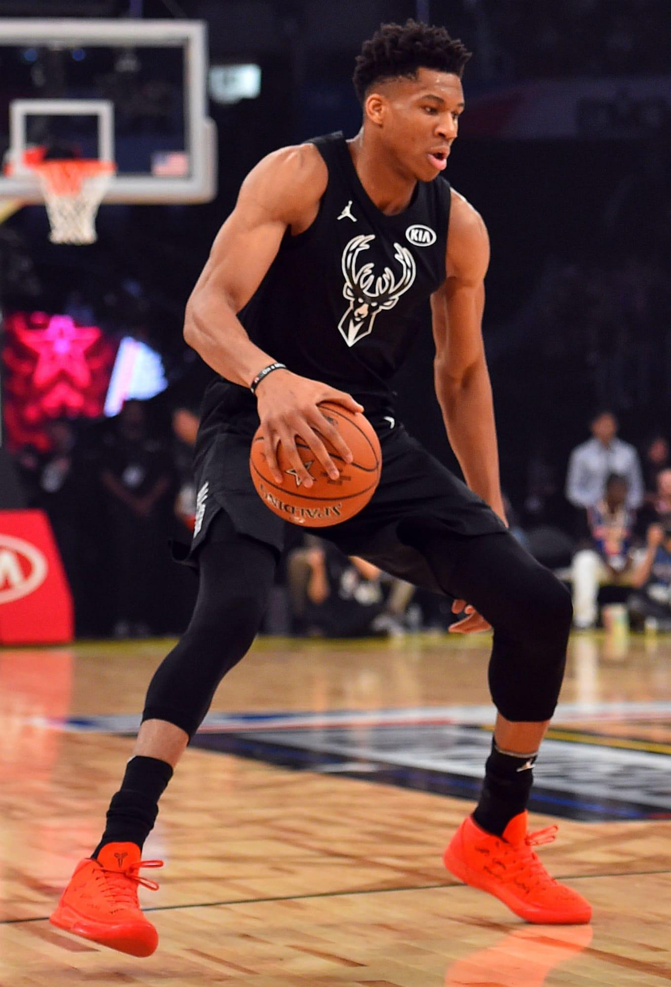 21984eb43c3e Giannis Antetokounmpo. Image via Bob Donnan for USA Today Sports. Shoe  Nike  Kobe A.D. ...