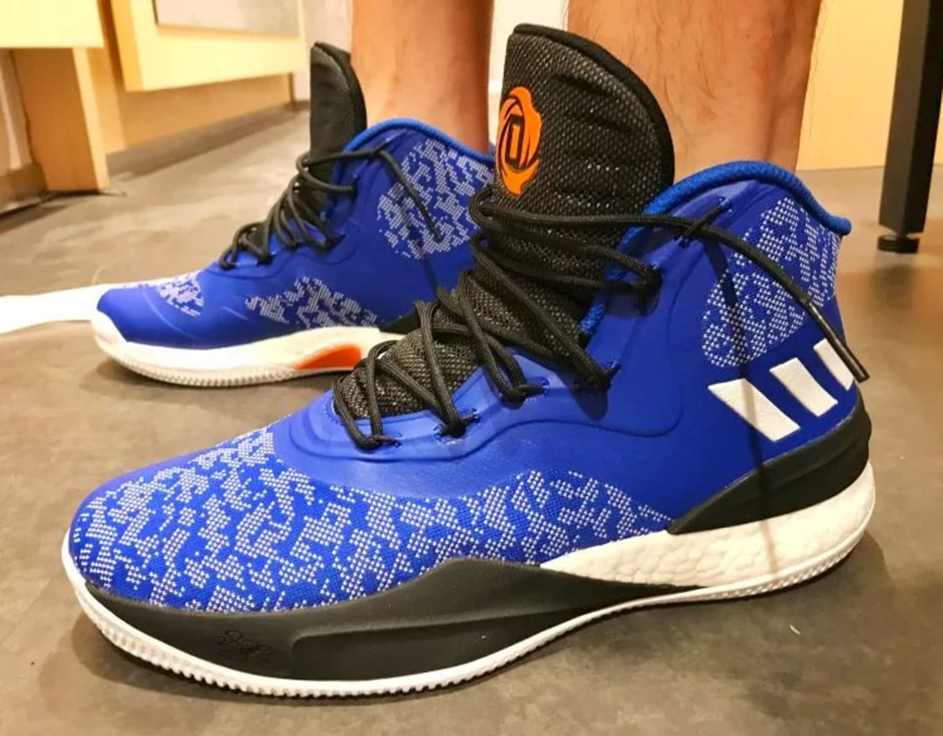 best sneakers 71c41 fd083 Derrick Roses New Sneakers Already Released in Knicks Colors. This Adidas  D Rose 8 is a little too late.