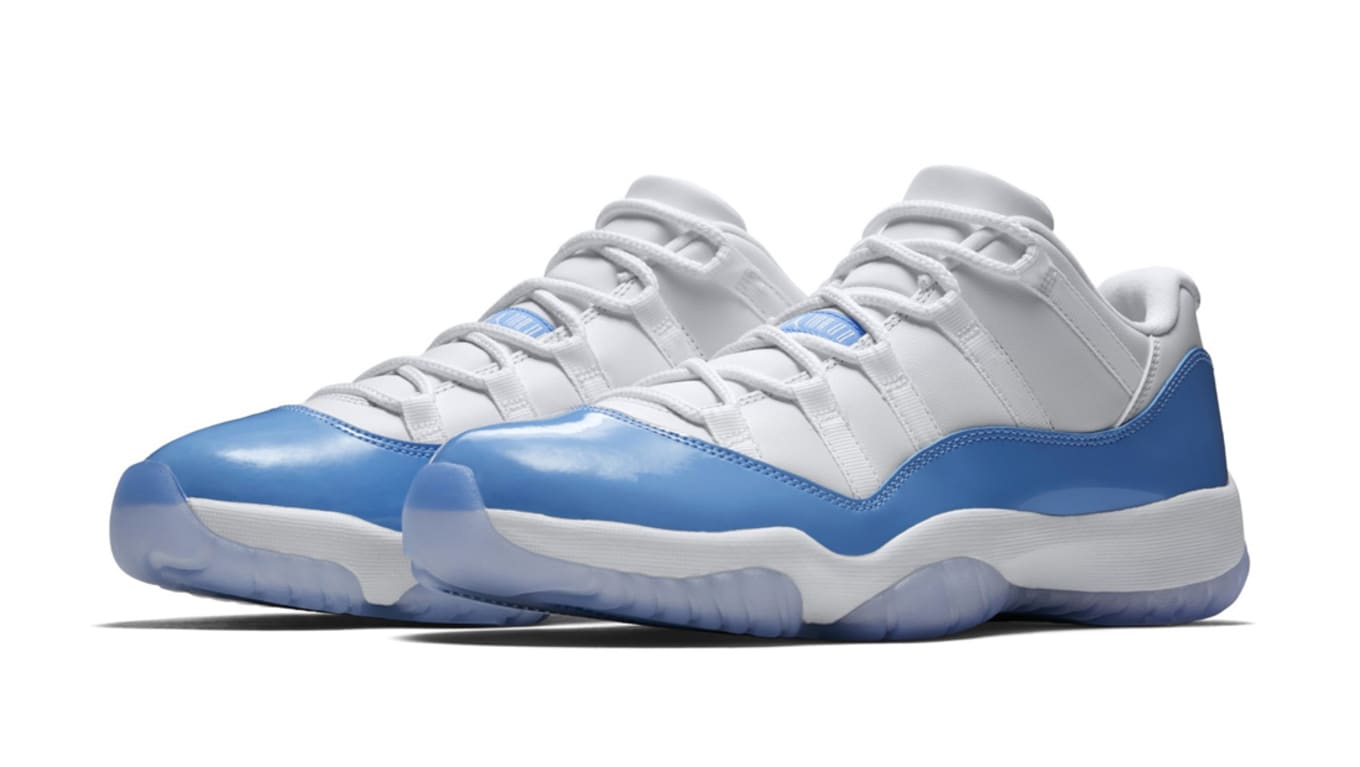 8d4b22b0f03 The blue and white Jordan 11 Lows are available to purchase online now.