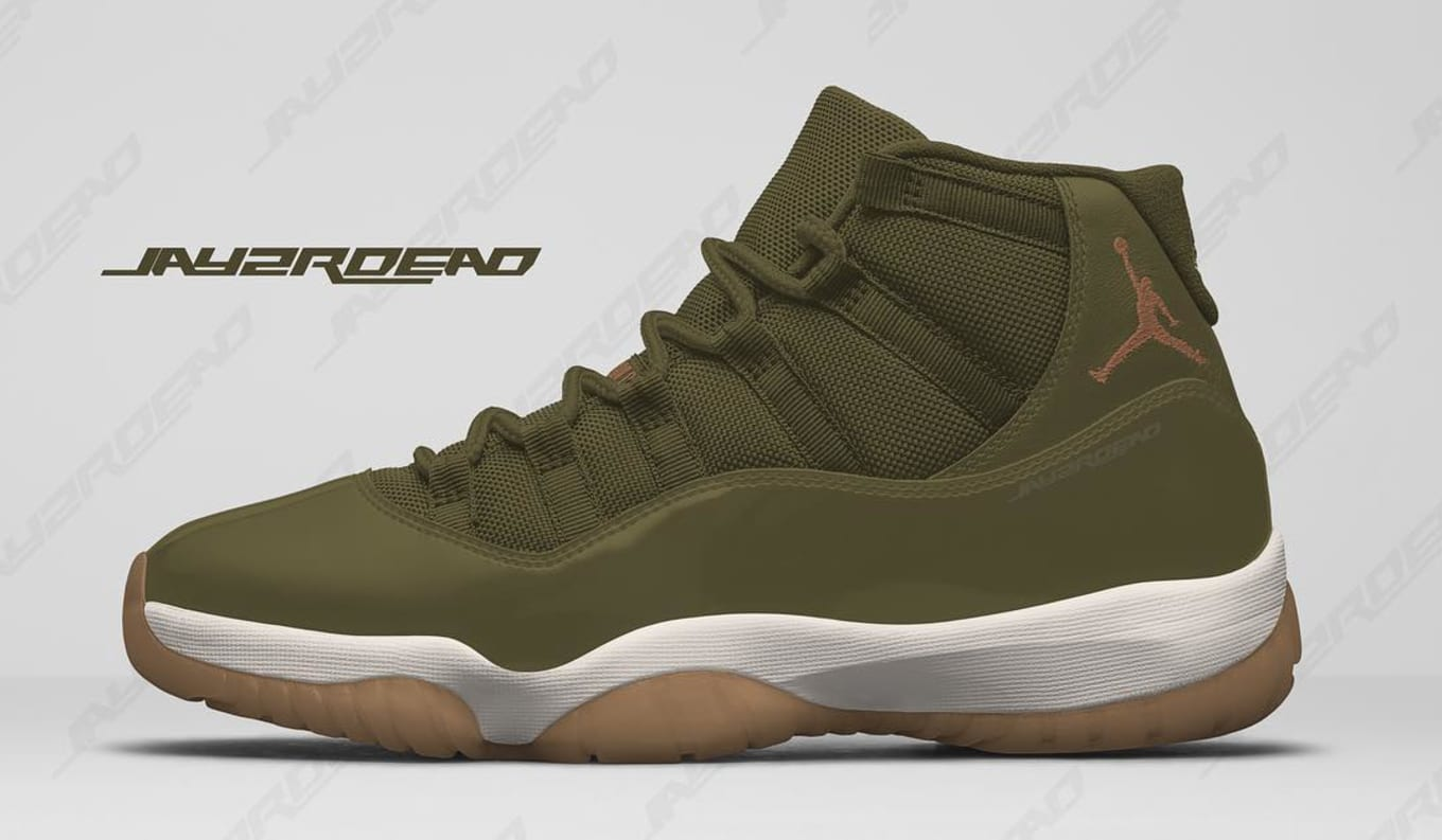 9f22082536a682 Air Jordan 11 XI Women s Neutral Olive 2018 Release Date