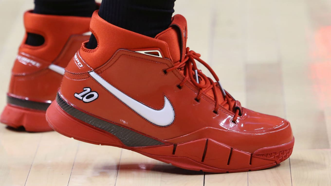 7e7fb57aaa4c DeMar DeRozan Nike Zoom Kobe 1 Proto Red PE Release Date On-Foot ...