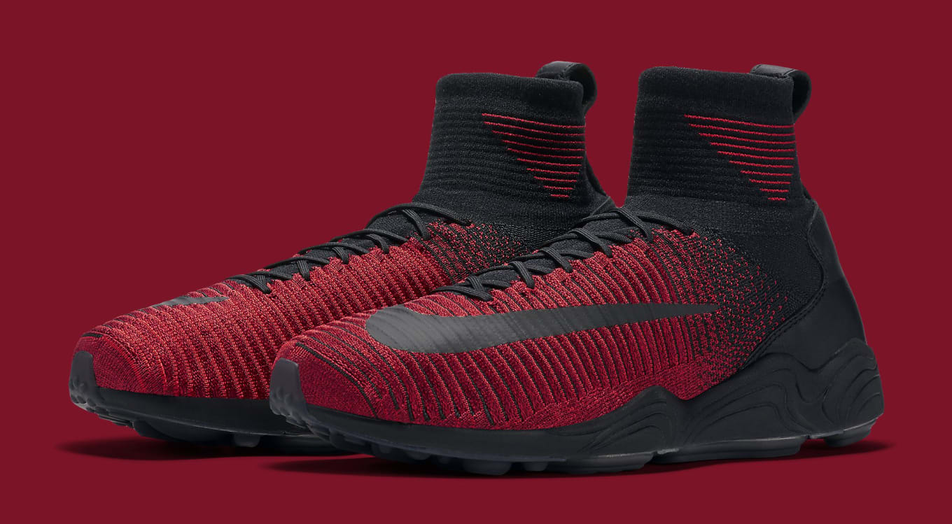 e1953059c98a8 Black and red hits the Nike Zoom Mercurial Flyknit.