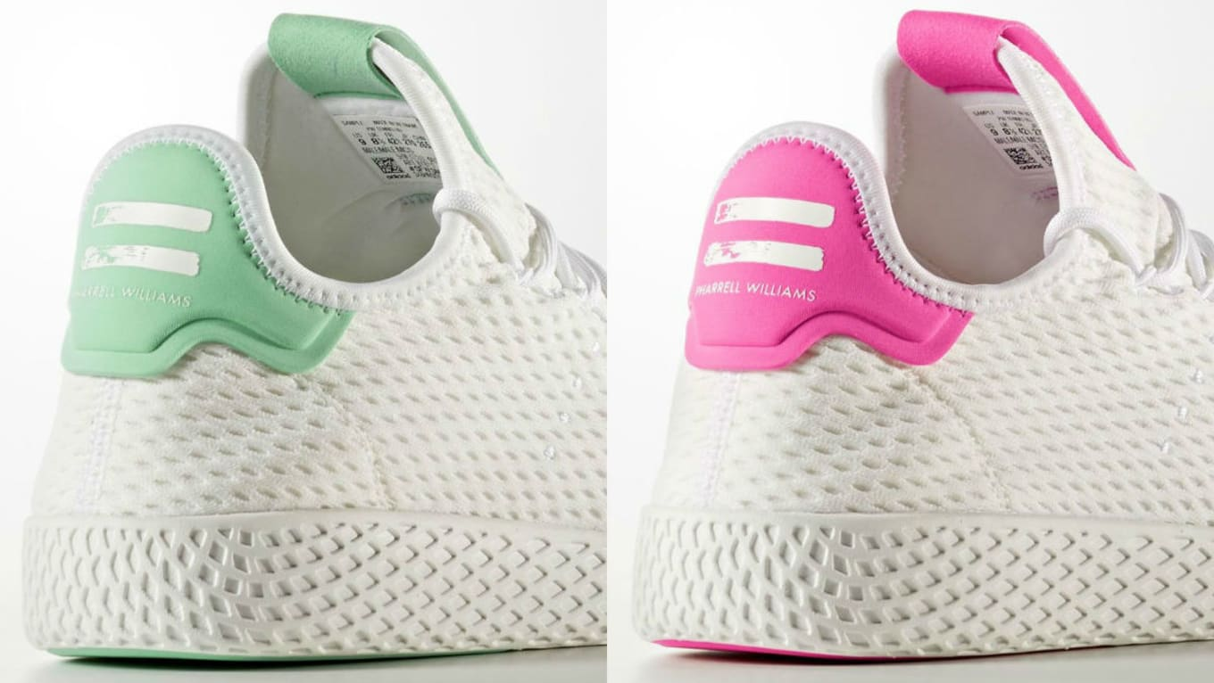 5c7fe4079 Spring Hues Added to Pharrell s New Adidas Sneakers. More Adidas Tennis Hu  styles ahead.