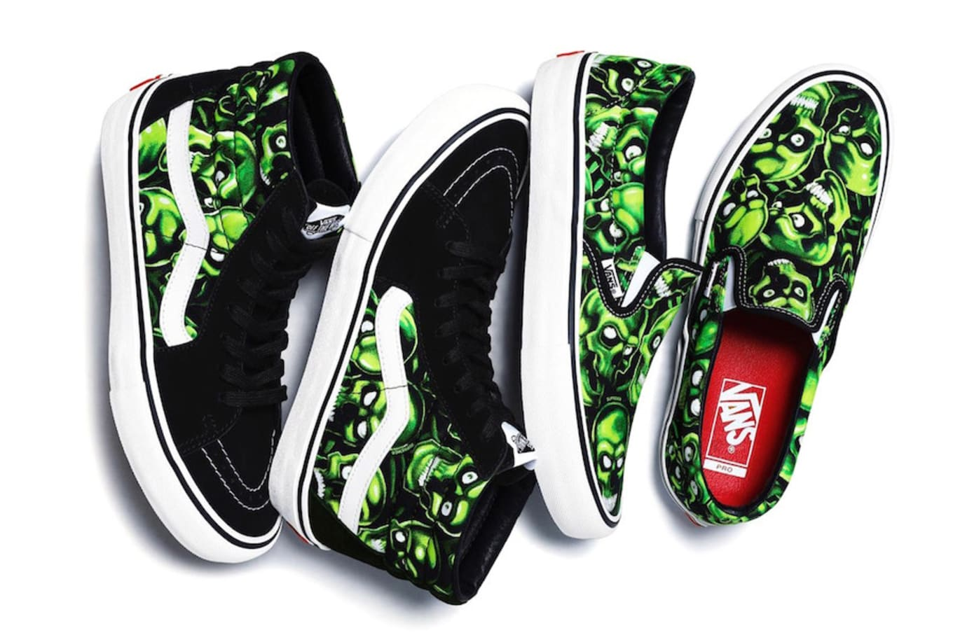 2b788d3676 Supreme x Vans Sk8-Hi and Slip-On  Skull Pile  Pack Release Date ...