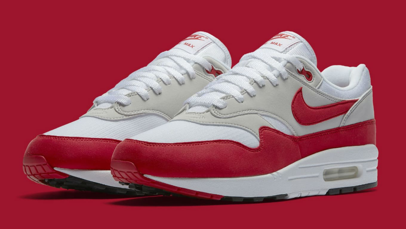 5d81d5cb6520 Nike Air Max 1 Anniversary White University Red Restock
