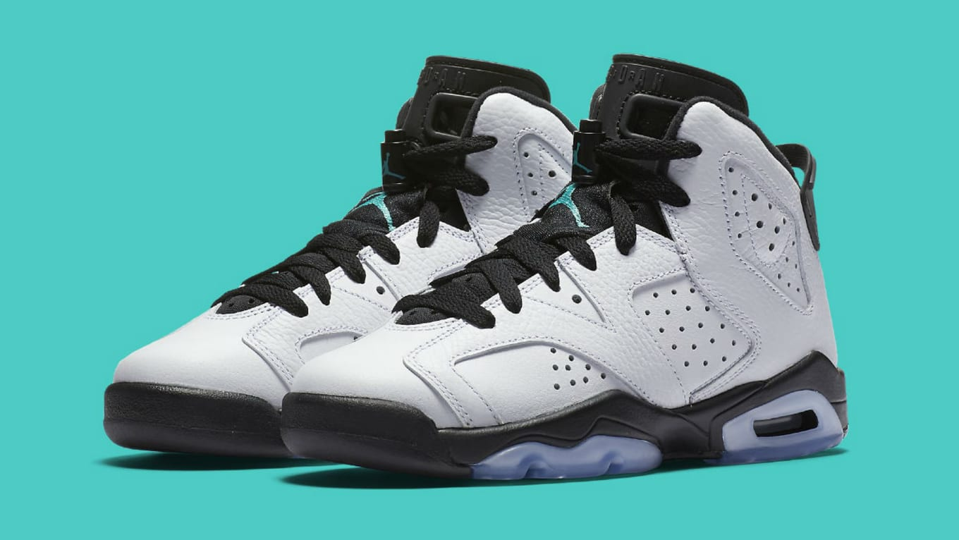 Air Jordan 6 GS White Black Jade Release Date 384665-122  4aa15851b60e