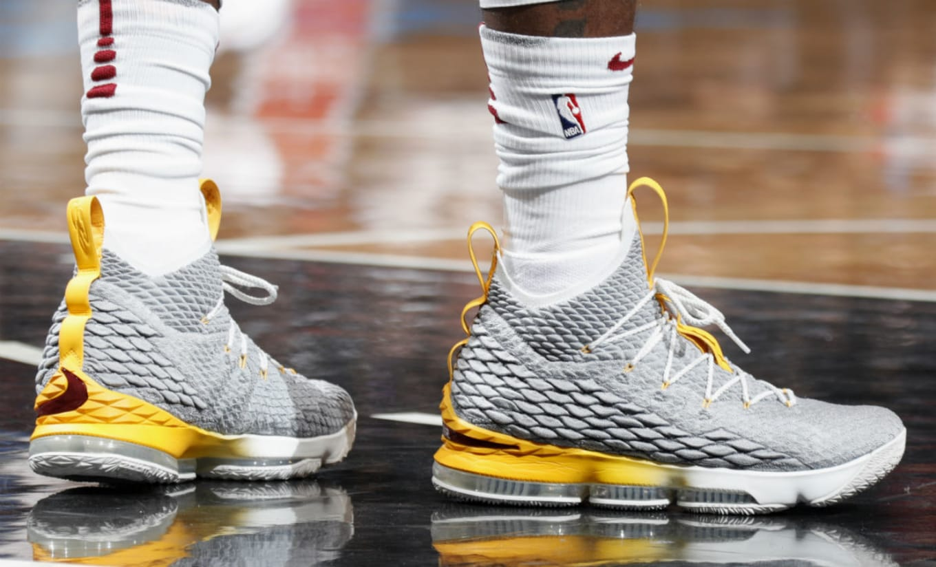 ff025854d62 LeBron James Nike LeBron 15 Grey Yellow PE