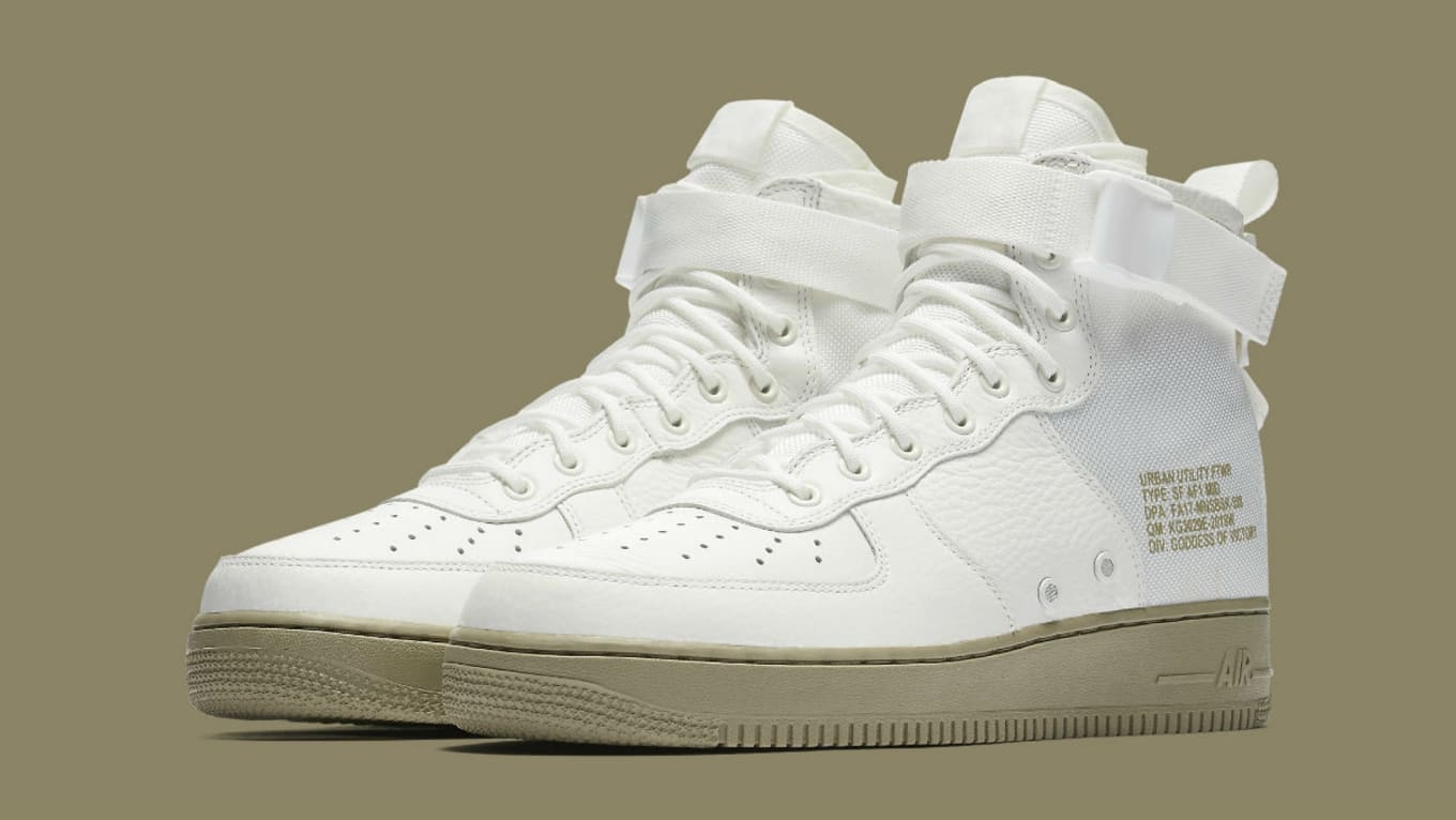 535a57bceea7 Nike SF Air Force 1 Mid Ivory Neutral Olive Release Date 917753-101 ...