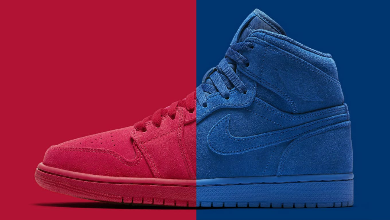 9e5e159e1e107e Air Jordan Red Blue Suede Release Date 332550-603 332550-404