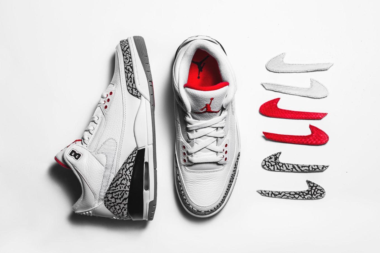 64d808817ea The Shoe Surgeon x Cement Air Jordan 3 Interchangeable Swoosh Custom ...