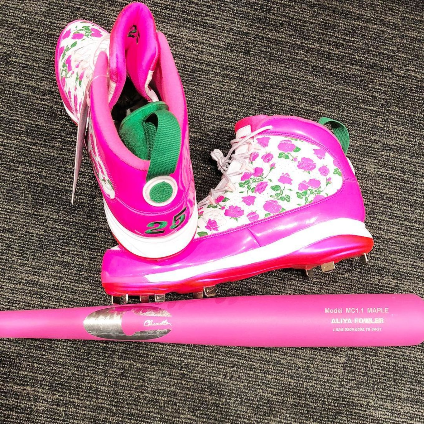104a3e227dc ... Cleats for Mother s Day. Personalized Air Jordan 9s to hit fields today.