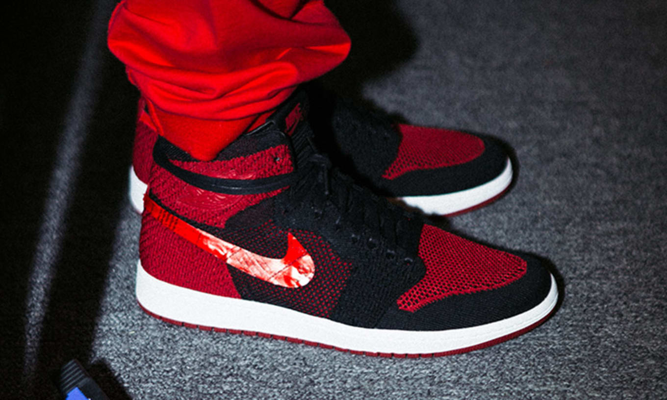 238f1aaa477 Bred' Air Jordan 1 Flyknit Feng Chen Wang Show at New York Fashion ...