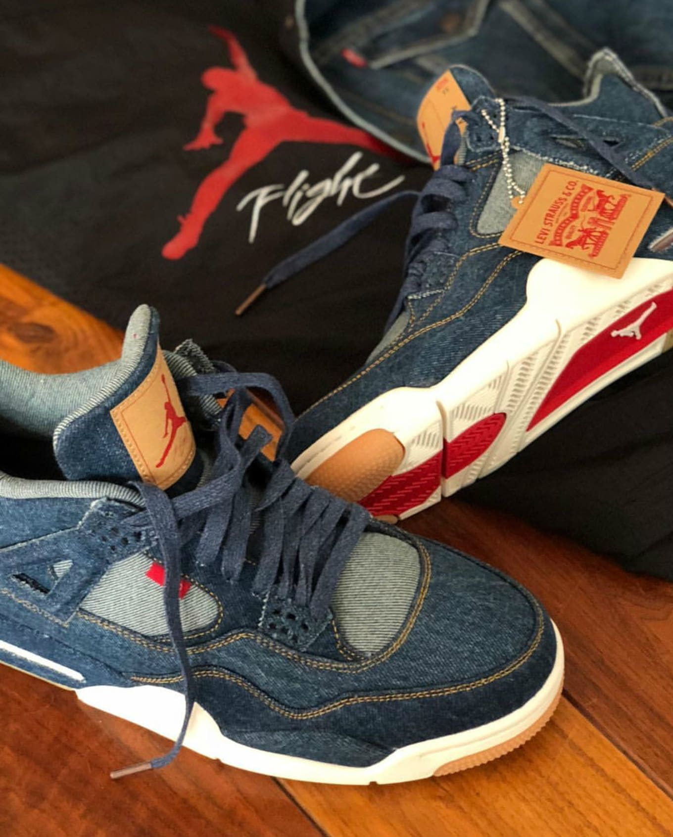 72bc5abdf35 The Levi's x Air Jordan 4 Comes with a Reversible Denim Jacket. The  collaboration keeps getting better.