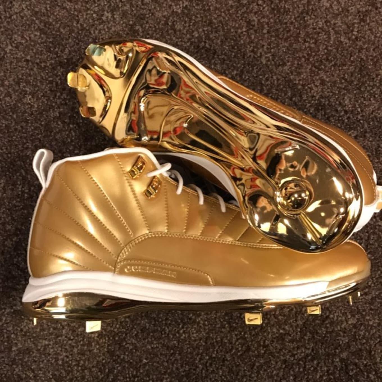 brand new cc559 514a3 Air Jordan 12 Gold Cleats for Childhood Cancer Awareness ...