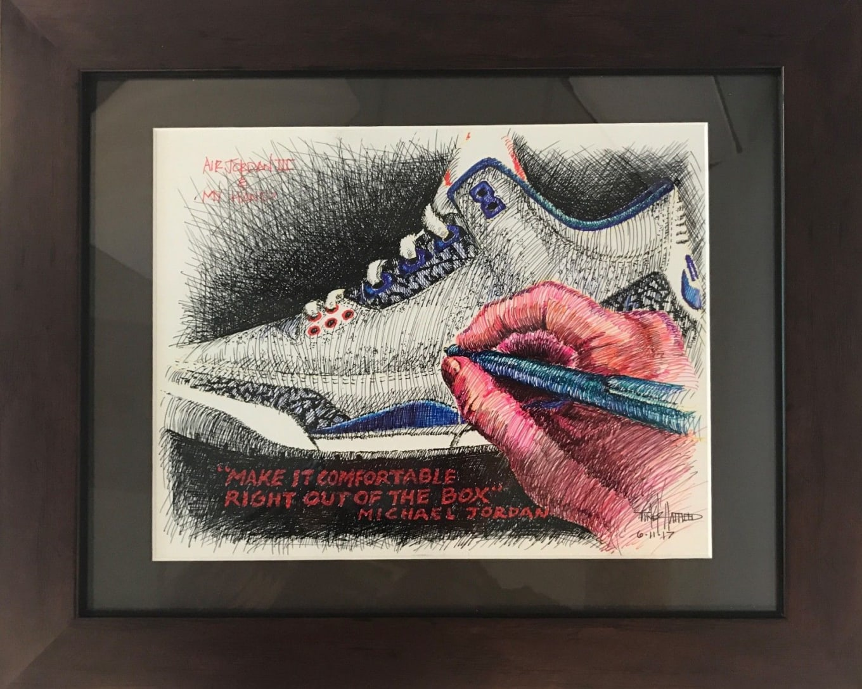 f61b986c138 Tinker Hatfield Air Jordan 3 Drawing Make-a-Wish Charity | Sole ...