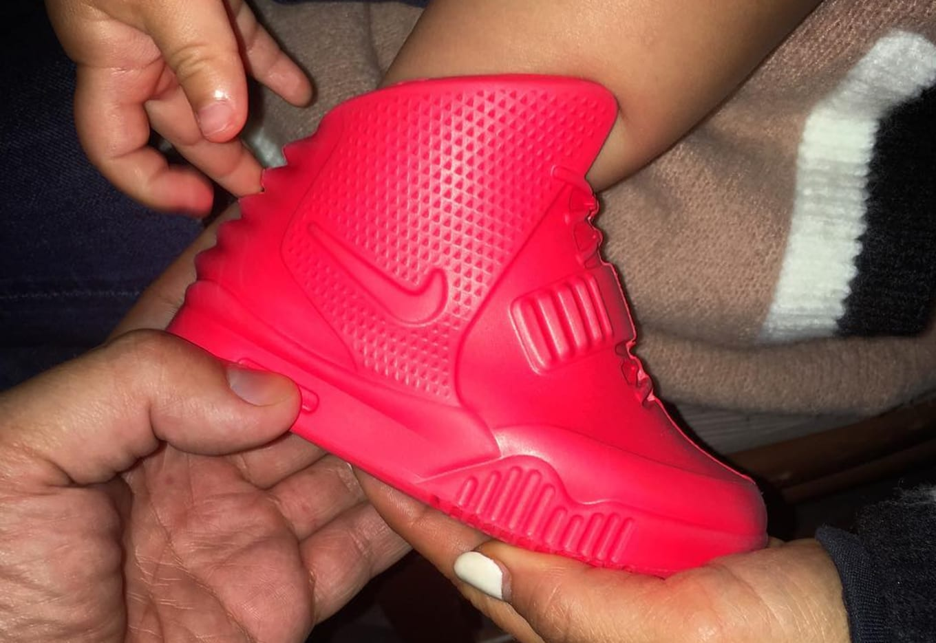2ef2e7291e0e7 Baby Nike Air Yeezy 2 Red October North West