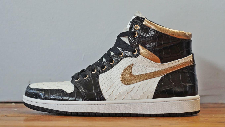 24e44fbd12a Air Jordan 1 White Python Black Croc Gold Leather by JBF Customs ...