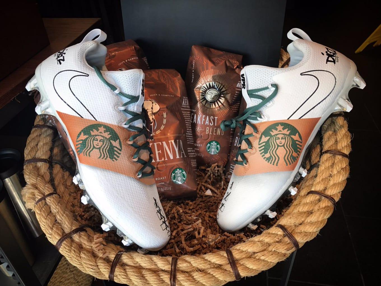 33f00491782c Custom Starbucks Nike Cleats Mache Stefon Diggs | Sole Collector
