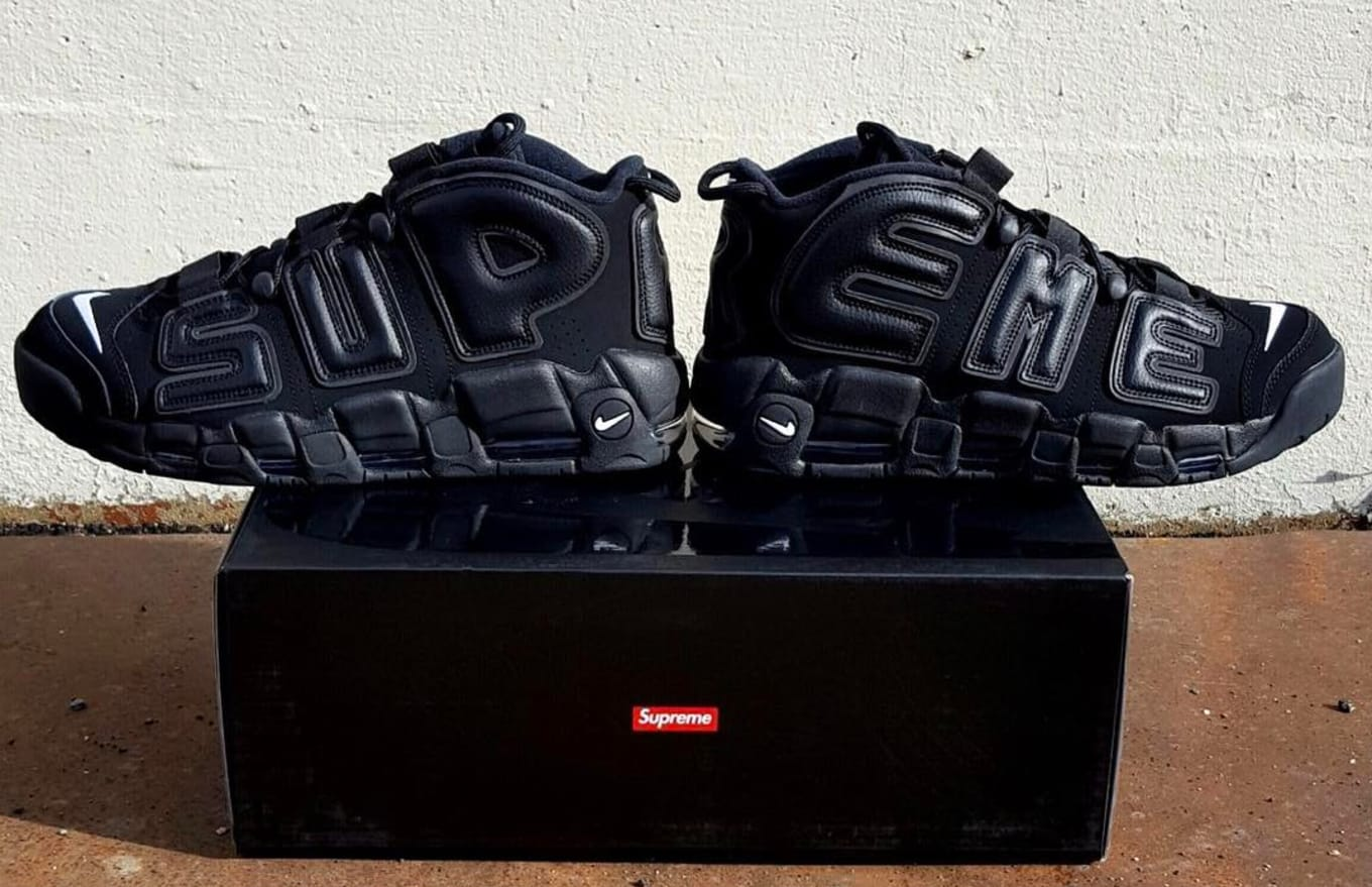 7223ab31213c First Look: Supreme x Nike Air More Uptempo. A triple black colorway of the  next Supreme x Nike leaks.