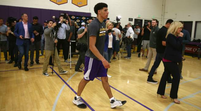 e109a1dd4f5 Lonzo Ball Wears Adidas Harden Vol. 1 for Lakers Workout