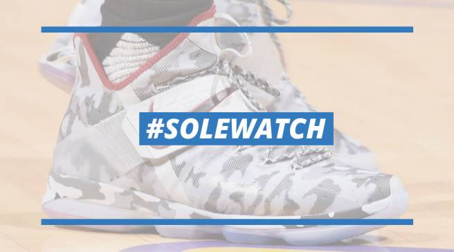 reputable site e3f20 7b187  SoleWatch  LeBron James Debuts  Camo  Nike LeBron 14 in Hollywood