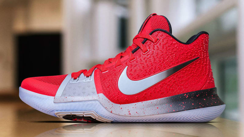 Cheap Real Nike Kyrie 3 Ohio State Red Silver Black