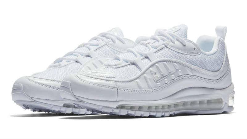 NIKE AIR MAX 98 640744-106 TRIPLE WHITE PURE PLATINUM BLACK REFLECT SILVER