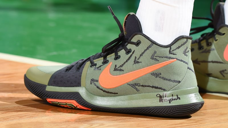 outlet store 002a7 2f658 ... Kyrie Irving Nike Kyrie 3 Green Orange Black Lobster PE Sol ...