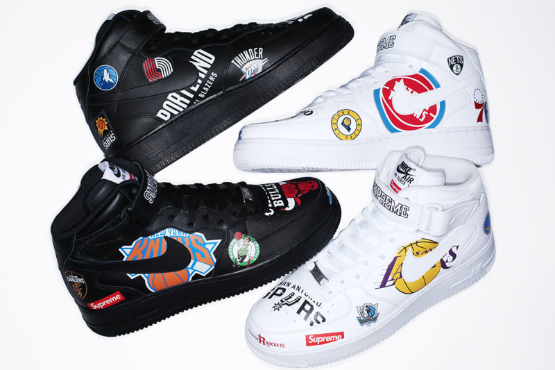 Supreme x NBA Air Force 1 AF1 Mid Size 10 WHITE Authentic NEW 10