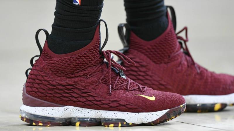 new style 02bd1 ce248 LeBron James Nike 15 Burgundy Cleveland Cavaliers Toronto Raptors  Nike LeBron  15 (XV) ...